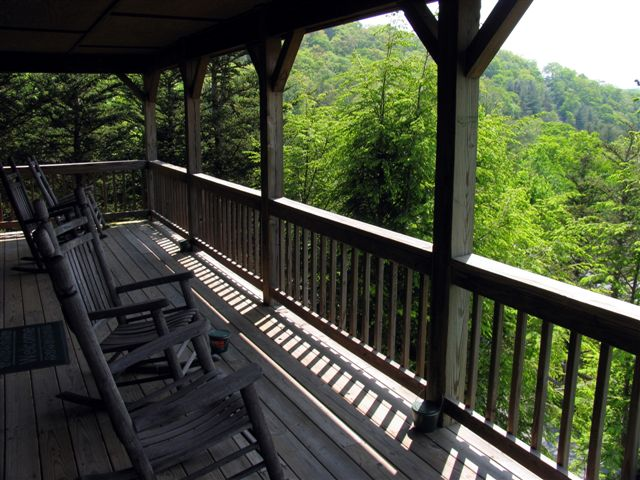 Long porch view at blowing rock cabin